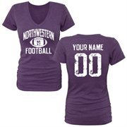 Women's Purple Northwestern Wildcats Personalized Distressed Football Tri-Blend V-Neck T-Shirt
