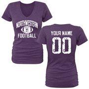 Women's Purple Northwestern Wildcats Personalized Distressed Football Tri-Blend V-Neck T-Shirt