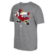 Men's adidas Heathered Gray Louisville Cardinals Big Retro Tri-Blend T-Shirt