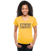 Women's Gold Wyoming Cowboys Classic Wordmark Tri-Blend V-Neck T-Shirt