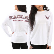 Women's Boston College Eagles White Aztec Sweeper Long Sleeve Oversized Top
