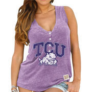 Women's Original Retro Brand Purple TCU Horned Frogs Relaxed Henley V-Neck Tri-Blend Tank Top