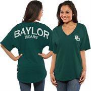 Women's Green Baylor Bears Short Sleeve Spirit Jersey V-Neck Top
