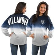 Women's Navy Villanova Wildcats Ombre Long Sleeve Dip-Dyed Spirit Jersey
