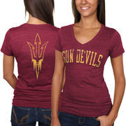 Arizona State Sun Devils Women's Slab Serif Tri-Blend V-Neck T-Shirt - Maroon