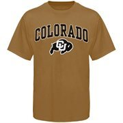 Mens Gold Colorado Buffaloes Arch Over Logo T-Shirt
