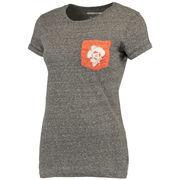 Women's Heathered Gray Oklahoma State Cowboys Bandy Pocket T-Shirt