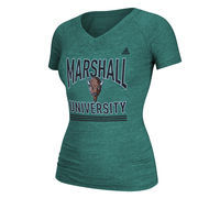 Marshall Thundering Herd adidas Women's With Honors Tri-blend V-Neck T-Shirt - Green