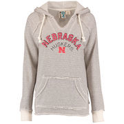 Women's Blue 84 Cream Nebraska Cornhuskers Striped French Terry V-Neck Pullover Hoodie