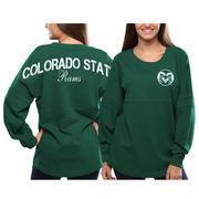 Women's Colorado State Rams Green Pom Pom Jersey Oversized Long Sleeve T-Shirt