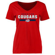 Women's Red Houston Cougars Team Strong Slim Fit T-Shirt
