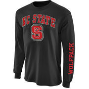 Men's NC State Wolfpack Charcoal Arch & Logo Long Sleeve T-Shirt