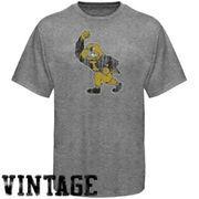 Iowa Hawkeyes Distressed Big Logo Ring Spun T-Shirt - Gray