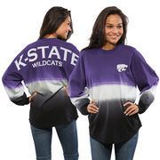 Women's Purple Kansas State Wildcats Ombre Long Sleeve Dip-Dyed Spirit Jersey