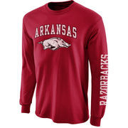 Mens Arkansas Razorbacks Cardinal Arch & Logo Long Sleeve T-Shirt