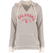 Women's Blue 84 Cream Oklahoma Sooners Striped French Terry V-Neck Pullover Hoodie