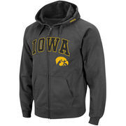Men's Stadium Athletic Charcoal Iowa Hawkeyes Arch & Logo Full Zip Hoodie
