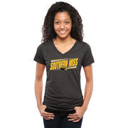 Women's Black Southern Miss Golden Eagles Double Bar Tri-Blend V-Neck T-Shirt