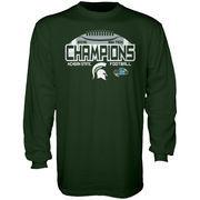 Men's Blue 84 Green Michigan State Spartans 2015 Big Ten Conference Football Champions Locker Room Long Sleeve T-Shirt
