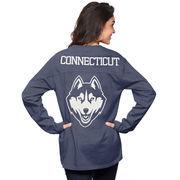 Women's Navy UConn Huskies The Big Shirt Oversized Long Sleeve T-Shirt