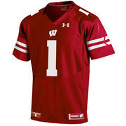 Men's Under Armour #1 Red Wisconsin Badgers Premier Football Jersey