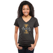 Idaho Vandals Womens Classic Primary Tri-Blend V-Neck T-Shirt - Black