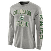 Men's Fanatics Branded Gray Colorado State Rams Distressed Arch Over Logo Long Sleeve Hit T-Shirt