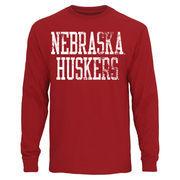 Mens Nebraska Cornhuskers Scarlet Straight Out Long Sleeve T-Shirt