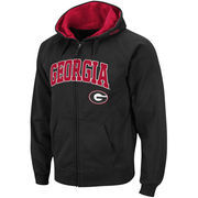 Men's Stadium Athletic Black Georgia Bulldogs Arch & Logo Full Zip Hoodie