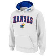 Men's Stadium Athletic White Kansas Jayhawks Arch & Logo Pullover Hoodie