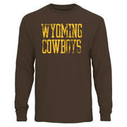 Men's Brown Wyoming Cowboys Straight Out Long Sleeve T-Shirt