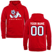 Men's Red Fresno State Bulldogs Personalized Football Logo Pullover Hoodie