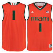 Men's adidas #1 Orange Miami Hurricanes Replica Basketball Jersey