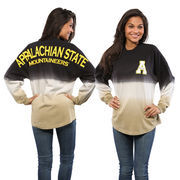 Women's Black Appalachian State Mountaineers Ombre Long Sleeve Dip-Dyed Spirit Jersey