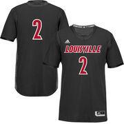 Men's adidas #2 Black Louisville Cardinals Iced Out Replica Jersey