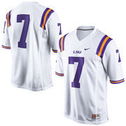 Men's Nike #7 White LSU Tigers Limited Football Jersey