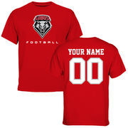Men's Red New Mexico Lobos Personalized Football T-Shirt