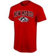 Mens Cherry New Mexico Lobos Arch Over Logo T-Shirt