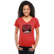Women's Red UNLV Rebels Classic Primary Tri-Blend V-Neck T-Shirt