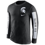 Men's Nike Black Michigan State Spartans Boundary Tri-Blend Long Sleeve T-Shirt