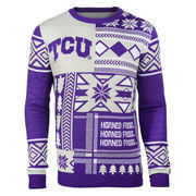 Men's Purple TCU Horned Frogs Patches Ugly Sweater