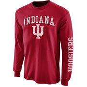 Mens Indiana Hoosiers Crimson Arch & Logo Long Sleeve T-Shirt