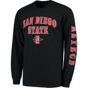 Men's Fanatics Branded Black San Diego State Aztecs Distressed Arch Over Logo Long Sleeve Hit T-Shirt