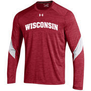 Men's Under Armour Red Wisconsin Badgers Sideline Microstripe Performance Long Sleeve T-Shirt