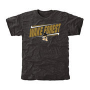 Men's Black Wake Forest Demon Deacons Double Bar Tri-Blend T-Shirt