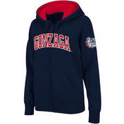 Women's Stadium Athletic Navy Gonzaga Bulldogs Arched Name Full-Zip Hoodie