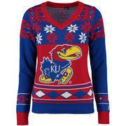 Women's Klew Royal Kansas Jayhawks Ugly Christmas V-Neck Sweater
