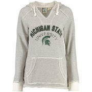 Women's Blue 84 Cream Michigan State Spartans PRG Striped French Terry V-Neck Hoodie