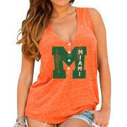 Womens Miami Hurricanes Original Retro Brand Orange Relaxed Henley Tank Top