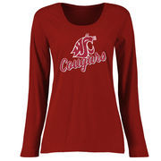 Women's Cardinal Washington State Cougars Plus Sizes Slant Script Long Sleeve T-Shirt